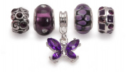 Bling Rocks Purple Silver Charm Bead Set Of 5 For Pandora Troll Chamilia Style Charm Bracelets Gift Wrapped