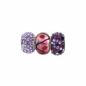 Link Up Sterling Silver Lavender Crystal Glass Bead Charms Set Of 3