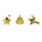 Bodylicious Gold Plated Silver Cross Star Heart Nose Stud Set Of 3