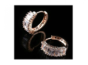 Hoop Earrings Gold Plated with Pink. Crystal elements