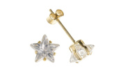 9ct Yellow Gold Star White Cubic Zirconia Stud Earrings