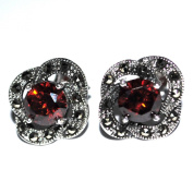 Designer Jewellery - Oval Marcasite and Garnet Red Crystal Stud Earrings