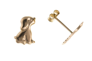 9ct Yellow Gold Puppy Dog Stud Earrings