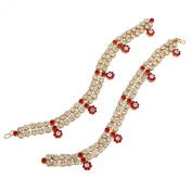 I Jewels Women's Elegantly Handcrafted Stone Studded Anklets Red