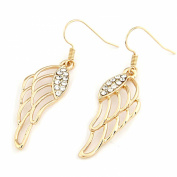 LOCOMO Elegant Angel Wing Feather Bling Crystal Punk Rock Gothic Hip Hop Dangle Earrings JER033