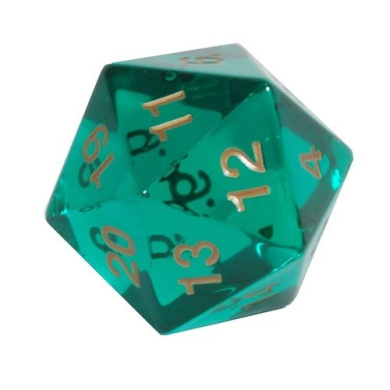 Jumbo d20 Counter - Transparent 55mm Dice: Emerald Gold - Spindown