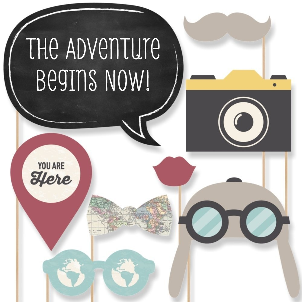 World Awaits Travel Themed Party Photo Booth Props Kit 20 Count