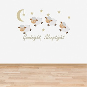 Full Colour Counting Sheep Neutral Nursery Wall Sticker Decal Goodnight Sleeptight Baby Room Children's Bedroom