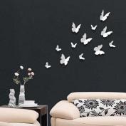 Walplus 3D Butterflu-White Walplus 12-Piece 3D Butterfly Wall Stickers Butterflies Home Improvement Deco, White