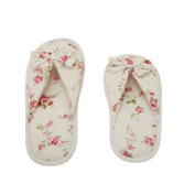 Floral Peonies Printed Cotton Women Memory Foam Slipper with Butterfly Tie - 7-8