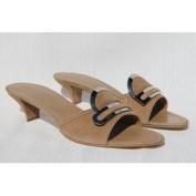 TOD'S Women's Ciabat Macroaccess Brigitte Beige Heeled Sandals Shoes US 7 / 37