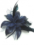 Pretty Cool - Navy Blue Flower & Feather Comb Fascinator