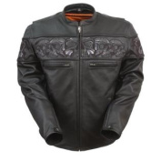 First Manufacturing Men's Sporty Scooter Jacket with Reflective Skulls