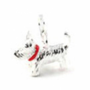 LOVELY SILVER SCOTTIE DOG WEARING A RED COLLAR CLIP ON CHARM - 925 SILVER PLATE - FREE P & P