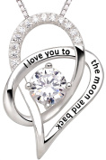 """ALOV Jewellery Sterling Silver """"I Love You To The Moon and Back"""" Love Heart Pendant Necklace"""