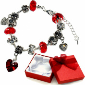 Valentines Day Red Crystal Love Heart Charm Bracelet with Charms Gift Card and Box