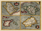 Reproduction Old Antique Map of Channel Islands Jersey, Guernsey, Isle of Wight and Anglesey by John Speed