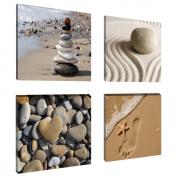 Visario 6902 Set of 4 Canvas Images 4 x 20 x 20 cm Spa Sand