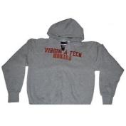 Virginia Tech Hokies The Cotton Exchange Mens Zip Up Hooded Grey Jacket
