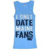 Maine Black Bears Cotton Exchange Womens Blue Paw Print Tank Top T-Shirt