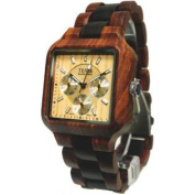 Tense Mens Multi-Eye Date Time Month Square Wood Watch B7305SD