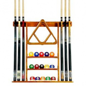 6 Pool Cue - Billiard Stick Wall Rack Made of Wood, Oak Finish