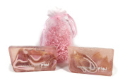 Moroccan Argan Oil Glycerin Soap Set. Two Primal Elements Soaps Are Elegantly Presented in an Organza Gift Bag with Festive Crinkle. Handcrafted with Exotic Notes of White Flower, Citrus and Vanilla.