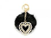 Crystal Heart & Rabbit Fur Pom Pom Key Chain / Bag Charm