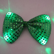 12 PC Light Up LED Green Flashing Sequin Bow Ties Tie