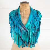 Natural Life Jersey Fringe Infinity Scarf - Turquoise & Navy Tie Dye