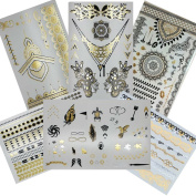 Gilded Girl Metallic Temporary Tattoo (6 Sheets) Henna Body Art Gold Silver and Black Flash Bling Tattoos