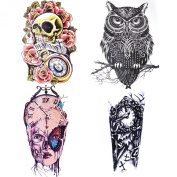 Cokohappy Large Temporary Metallic Tattoo,4 Different Sheets (One set) of Red Rose Skull,Black Celt Owl Clock Machine and Brown Butterfly,Long Lasting Fake Tattoo for Men Women