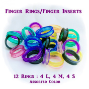 12x Barber Hair Shears Scissors Finger Rings Grips Inserts - Soft Rubber Ring Sizer 4L, 4M, 4S Assorted Colour