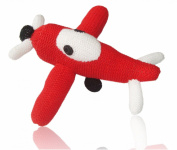 Estella Baby Rattle Toy in Shape of a Plane, Hand-Knit Soft Infant Toy, Red