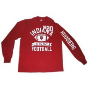 """Indiana Hoosiers Cotton Exchange Red White-Faded-Logo """"Football"""" LS T-Shirt"""