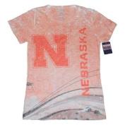Nebraska Cornhuskers Blue 84 Juniors Light Red Splatter Crew Neck T-Shirt