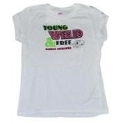 Kansas Jayhawks Cotton Exchange Girls White Young Wild & Free T-Shirt (XL)