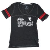 Oklahoma Sooners Blue 84 Women Black V-Neck Burn Out T-Shirt