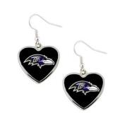 Baltimore Ravens NFL Sports Team Logo Heart Shape French Hook Style Charm Dangle Earring Set