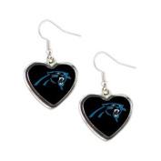 Carolina Panthers NFL Sports Team Non-Swirl Heart Shape Dangle Earring Charm Jewellery Pendant