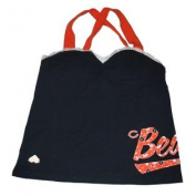 Chicago Bears Women Navy Orange Laced Cross Back Strap T-Shirt