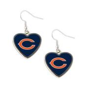 Chicago Bears NFL Sports Team Non-Swirl Heart Shape Dangle Earring Charm Jewellery Pendant