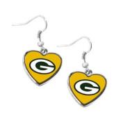 Green Bay Packers NFL Sports Team Non-Swirl Heart Shape Dangle Earring Charm Jewellery Pendant