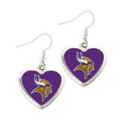 Minnesota Vikings NFL Sports Team Non-Swirl Heart Shape Dangle Earring Charm Jewellery Pendant