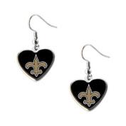 New Orleans Saints NFL Sports Team Non-Swirl Heart Shape Dangle Earring Charm Jewellery Pendant