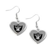 Oakland Raiders NFL Sports Team Non-Swirl Heart Shape Dangle Earring Charm Jewellery Pendant