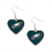 Philadelphia Eagles NFL Sports Team Non-Swirl Heart Shape Dangle Earring Charm Jewellery Pendant