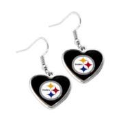 Pittsburgh Steelers NFL Sports Team Non-Swirl Heart Shape Dangle Earring Charm Jewellery Pendant