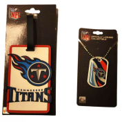 Tennessee Titans Aminco, Inc. Bag Tag and Dog Tag Necklace Accessories Pack