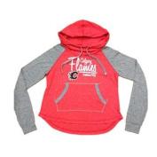 Calgary Flames SAAG Women's NHL Red Two Toned Slub Neck LS Hoodie Sweatshirt